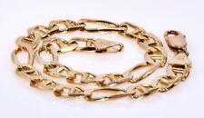 "#048 Estate 14k Solid Yellow Gold Figaro Bracelet 9.5"" x 7mm No Scrap 15.3 Grams"