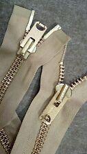 "USA VINTAGE NOS 2-Way Jacket Zipper TALON#10 Separating Metal BRASS26""TAN/COTTON"