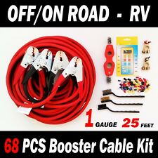 OFF/ON ROAD – RV - 68 PCS BOOSTER CABLE KIT - 25 FT 1 GAUGE Jumper Cables