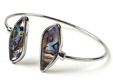 Resin Thin Cuff Bracelet Brc 5594 Amrita Singh Silver Mother of Pearl
