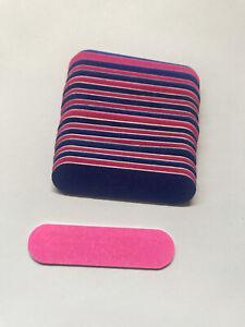 FREE POST 24 x Small Tiny Mini 5cm Short Thin Nail File Emery Boards PINK&BLUE