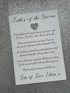 Personalised Father of the Groom Wedding Day Card / Father in law + Envelope