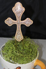 CROSS CAKE TOPPER Rhinestone Cross, various styles,Floral Stick - Great for Bapt