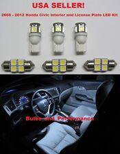 6 Piece White Led Interior Amp License Plate Light Kit For 2006 2012 Honda Civic