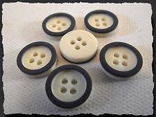 10 BOUTONS Blanc cassé cerclé bleu marine 14 mm * 4 trous blue button 1,4 cm lot