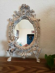 Antique Victorian Tabletop Mirror Vanity Cupid Gold White Washed