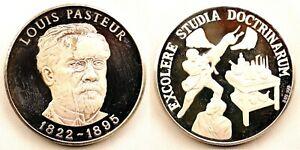 Spain-PLATA PURA 999. Medalla. Louis Pasteu. Acuñacion Proof. plata. 24,9 g.