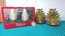 Christmas Decor, Brass Plated Pine Cones, 2 Candle Holders, by Dillard's