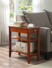 Convenience Concepts American Heritage Three Tier End Table w/Drawer, Cherry NEW