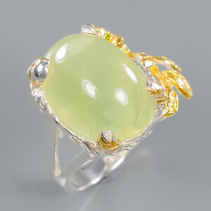 Prehnite Ring Silver 925 Sterling Fine art Jewelry Size 9 /R140831