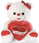 "14"" Teddy Bear Stuffed Animal Plush w sparkle pierced nose Red Heart - Valentine"