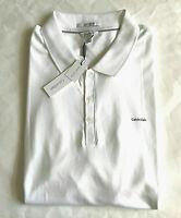 Calvin Klein Liquid-Touch 100% Cotton Polo Shirt Color WHITE ~Choose Size~ New!