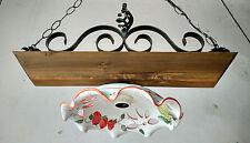 Lampadario in ferro battuto e legno mod. Bilanciere 1 luce E27 ceramica da 30cm