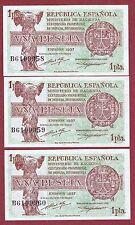 SPAIN. 1 Peseta de 1937 ( TRÍO CORRELATIVO ) Serie: B ( SC / UNC )