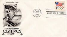 1991 BOOKLET FLAG STAMP WITH OLYMPIC RINGS ART CRAFT/PCS CACHET UNADDR FDC
