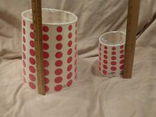 """2 Lamp Shades White with Red Polka Dot just under 10"""" and 6""""– New"""