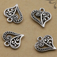 30X Antique Tibetan Silver Alloy Hollow Heart Charms Pendants Findings DIY Craft