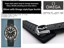 20mm Tropic type watch strap for Omega Seamaster. Silicone rubber dive band.