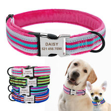 Reflective Dog Collars Fleece Padded Personalised Pet Name ID Metal Buckle S M L