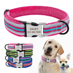 Plush Personalized Dog Collar with Custom Name ID Metal Buckle Warm Soft Padded