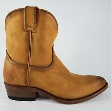 Frye Billy Short Western Boots Womens Leather Cowboy Distressed Cognac Sz 8~NEW