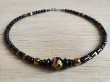 Men's Handmade Necklace  With Natural Black Agate, Gold Tone Hematite Gems