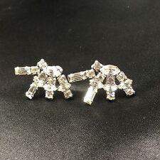 Jay Flex Sterling Rhinestone Earrings ScrewBack Marquis Baguette Round Fan Style