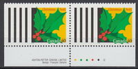 Canada #1588 40¢ Christmas Holly Pair from Booklet MNH - A