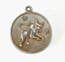 Vintage Taurus The Bull Zodiac Sterling Silver Bracelet Charm Pendant by A & M