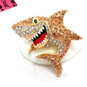 Betsey Johnson Champagne Rhinestone Cartoon Shark Crystal Charm Brooch Pin Gifts