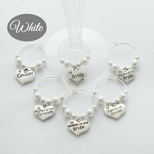 Wine or Champagne Glass Charms - Wedding - Party - Pearl WHITE - EVERY 7th FREE