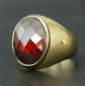 Round Big Ruby Bishop Cleric Cross Christian Pope 14K Gold Plated 7-12 Men Ring.