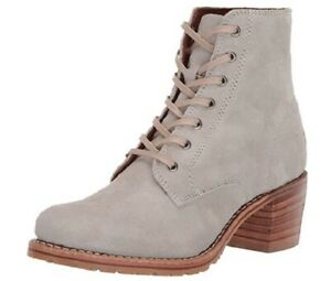 NIB Women's Frye Leather Sabrina 6G Lace Up in White Sky 71576