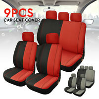 9pcs Car Seat Cover Full Set Front Rear Seat Back Protector Washable