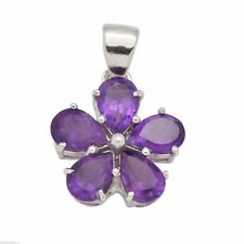 925 Sterling Silver Oval Cut Natural Gemstone Flower Pendant Fine Jewelry