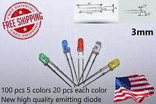 100PCS 3mm White Green Red Blue Yellow LED Light Bulb Emitting Diode