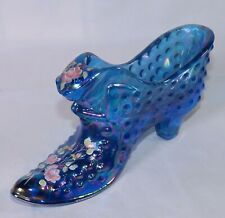 Fenton Hobnail Blue Iridescent Carnival Hand Painted Roses Cat Slipper Shoe Boot