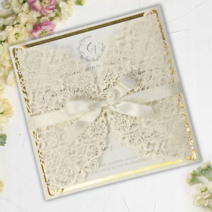 LASER CUT GOLD FOILED WEDDING INVITATIONS WITH ENVELOPES DIY TEMPLATE FREE SHIP!