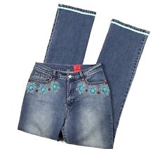 V Cristina Womens 4 Jeans Floral Stone Embellished Straight Bootcut 29 / 32
