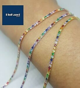 Bracciale in argento 925 tennis pietre colorate rainbow