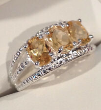 BRAZILIAN CITRINE, 2.20 CTS, 3-STONE RING SET IN 925 STERLING SILVER, SZ 8