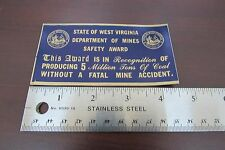 State of West Virginia Dept of Mines Safety Award-Vintage Mining hat stickers