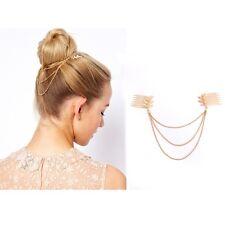 Women Fashion Gold Tone Leaf Hair Comb Clip Chain Head Jewelry Headpiece 2Pcs