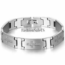 Men's Silver Tone Stainless Steel Cross Bracelet Cool Wristband Chain Bangle