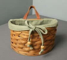 New ListingLongaberger Basket - Half Circle w/ Leather Strap & Fabric Liner - 2006 - aa ee