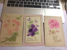 3 Highly Embossed Floral Vintage  Greeting  Postcards   NIce Condition.