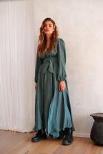 BNWT Jaase Astri Maxi Dress Jamais Print Sz L Khaki Green Long Sleeves *Fault*
