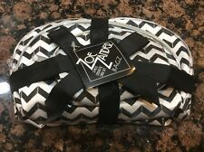 New set 3 Chevron makeup bags zipper pouches 8in 6.5in 4.5in sizes black white