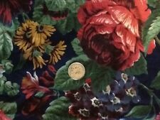 BOLD FLORAL COTTON PRINT FABRIC  NAVY WITH COLORFUL FLOWERS