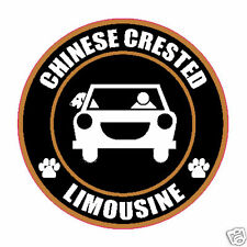 "Limousine Chinese Crested 5"" Dog Sticker"